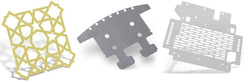 Sheet metal parts 1/8 in thick and less, cut with a fiber laser system.